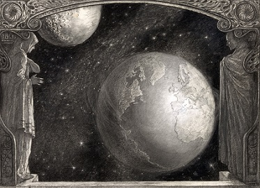 b&w cosmic planets in outer space